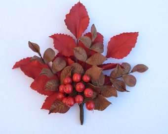 Leather looking brooch, autumn brooch, handmade leather looking brooch