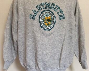 Vtg 80s Dartmouth College Sweatshirt Heather Gray Raglan Champion Brand