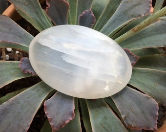 Soothing Polished Selenite Massage/Worry Stone Metaphysical and Healing Properties Pagan