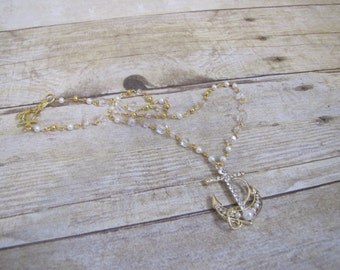 Pearl Gold Bling Anchor