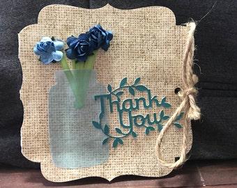 Mason Jar and Burlap Thank You Card