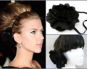 Celebrity Inspired Black Flower Headpiece ,Black Flower Headband ,Big Black Flower hair jewelry ,wedding headpiece,Celebrity Style Headpiece