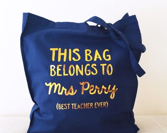Personalised Teacher Tote Bag, Personalized Teacher Tote bag, Foil Bag, Eco Bag, Tote Bag
