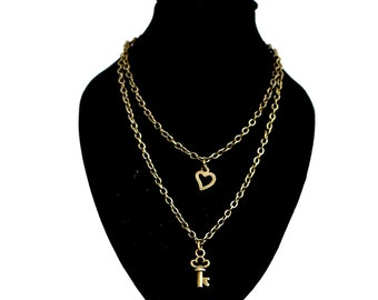 Double chain necklace for 18 inch dolls - BROZE  COLOR adjustable chain