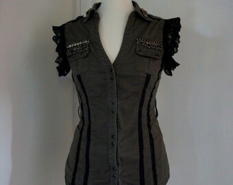 OOAK Upcycled Steampunk Military Style Khaki Stretchy Tight Fit Blouse With Lace and Bead Details Size UK 10 US 6