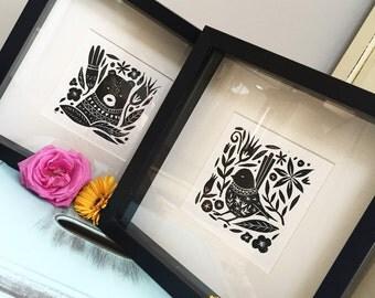 Bear in a Jumper Lino Print