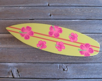 Surfboard Wall Decor with Hand-painted Hibiscus Flowers made from Reclaimed Wood Beach Nautical Ocean Surfboard Wall Art Beach Themed Decor