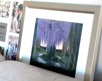Whimsical Wall Art | Wisteria Tree | Purple and Green Decoration | Enchanted Forest | Gift for Nature Lover | Fine Art Digital Print