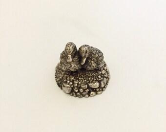 Vintage Solid Silver Miniature Ducks.