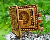 Wooden hand mirror, Birch bark pocket mirror, Wood carved handbag mirror, Wooden accessory