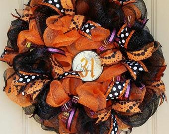 Black and Orange Halloween Wreath