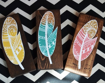 Mini Colorful Zentangle Wooden Feathers