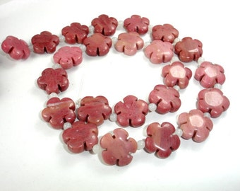 Rhodonite Beads, 16x16mm Flower Beads, 16.5 Inch, Full strand, 23 beads, Hole 1 mm, A quality (386036002)
