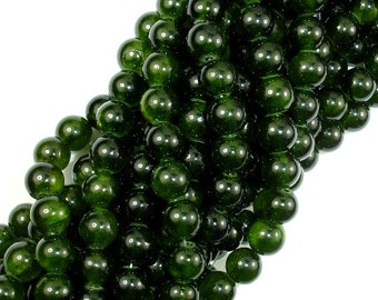Dyed Jade- Dark Olive Green, 8mm Round Beads, 15.5 Inch, Full strand, Approx 51 beads, Hole 1 mm, A quality (211054146)