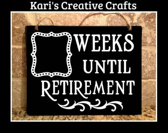 Retirement Countdown Chalkboard, Retirement Sign, Countdown Board, Countdown, Retired
