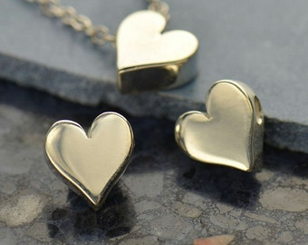 Small Sterling Silver Heart Bead