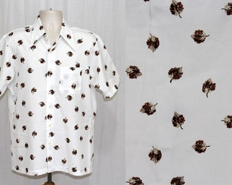 Vintage 70s Mens Falling LEAVES White SS Disco Hipster Button Retro Shirt M L