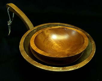 Baribocraft & Baribomaid Canada - Mid Century Modern Wooden Bowl with Handle and Two Salad Bowls MADE IN CANADA