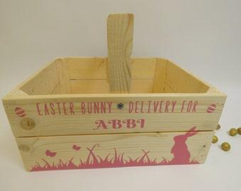 Personalised Wooden Easter Crate Easter Basket Easter Bunny Hamper Easter Gift Easter Egg Hunt