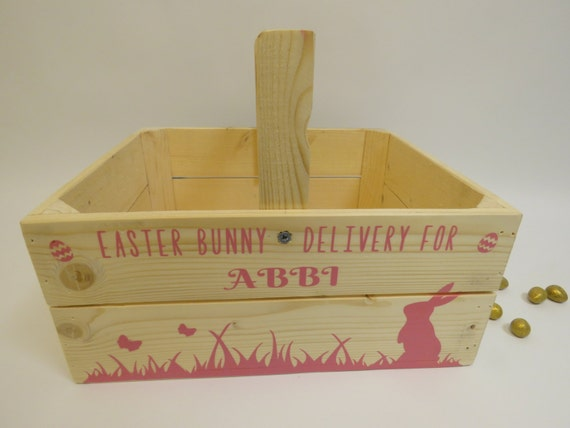 Handmade Wooden Easter Baskets : Personalised wooden easter crate basket bunny