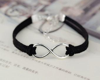 Black Silver Leather Bracelet/ Infinity Bracelet/ SilverPlated