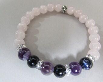 Rose quartz bracelet, Gemstone Beaded Stretch Bracelet with Rose Quartz, Blue Goldstone, Amethyst and Swarovski crystals, Handmade Gift