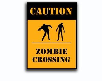 Zombie crossing Halloween, wall decor