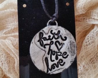 Faith Hope and Love Clay Pendant Necklace