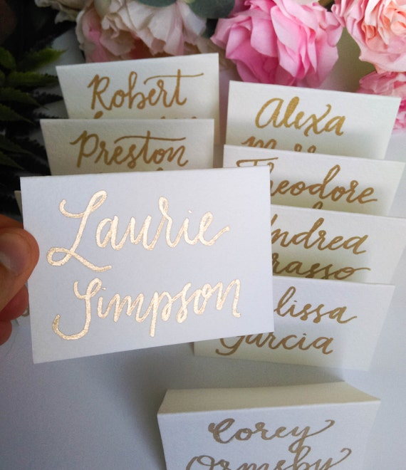 Wedding calligraphy name cards escort by