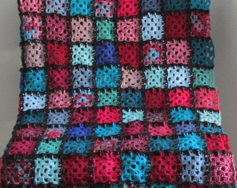 "Reds/Blues Granny Square Afghan (multi-colored; 64""x64"")"