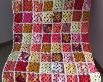 "Warm Granny Square Afghan (multi-colored, warm colored; 64""x64"")"