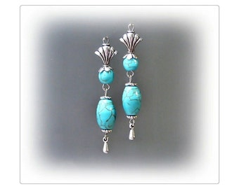 Earrings, Turquoise, Vintage style silver, clip on or pierced