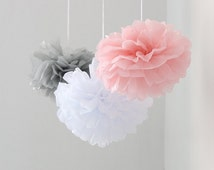 12pcs Mixed Pink Gray White Tissue Paper Flower Pom Poms Wedding Baby Shower Party Nursery Hanging Decoration Favor