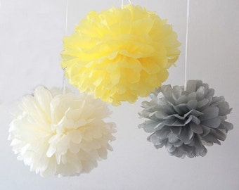 12pcs Mixed Yellow Gray Cream Tissue Paper Pom Poms Wedding Baby Shower Party Nursery Hanging Decoration