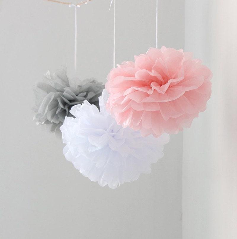 12pcs mixed pink gray white tissue paper flower pom poms for Baby shower flower decoration