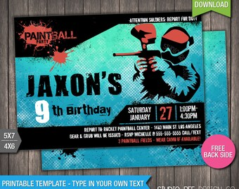 Paintball Invitation - INSTANT DOWNLOAD - Printable Paintball Birthday Invite - Birthday Invitation - DIY Personalize & Print (PBin01)