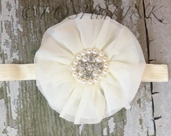 Ivory Girls shabby flower headband pearl rhinestone  center, baby flower headband, newborn headband, vintage, infant, toddler