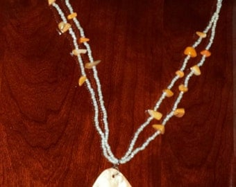 Beads and Mother of Pearl Shell Pendant