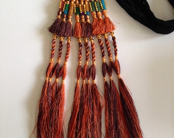 Hair Tassels, Rustic Brown, Tribal  Belly Dance, Hair Ornaments, Tribal Hair, Bellydance Costume, Bohemian Hair Extension, Beads