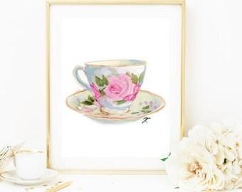 Teacup Illustration, Kitchen Print, Kitchen Art, Teacup Print, Teacup Watercolour, Watercolour Print