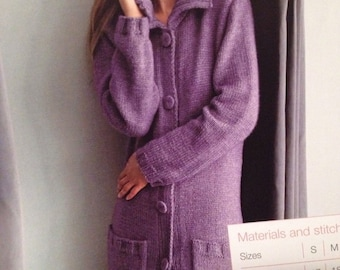 Ladies Knitted Long Cardigan Coat Knitting Pattern