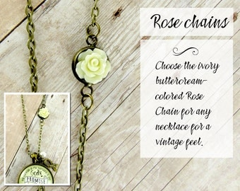 Vintage Rose Link Chain for Necklace Upgrade, Ivory Resin Rose for Retro Antique Pendant Jewelry Special Gift for Mom, Wedding