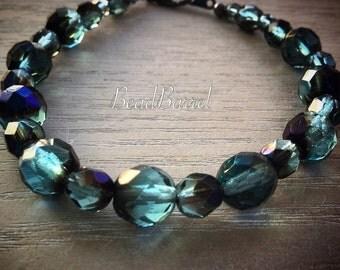 Teal blue iris Czech faceted glass bracelet