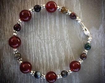 Red carnelian and fancy Jasper bracelet, fancy Jasper bracelet, red carnelian bracelet, lobster clasp, Jasper, carnelian, silver bracelet
