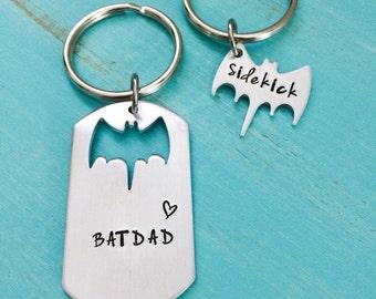 Sale-Batdad and Sidekick-Bat Dad keychain-Superhero-Geeky dad Gift-Hand stamped jewelry-Batman and Robin-Batman keychain-Superhero fandom-