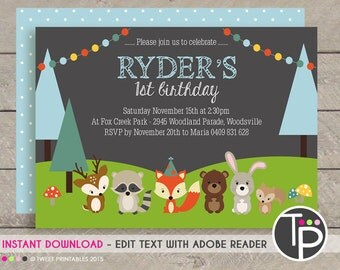 WOODLAND Invitation, INSTANT DOWNLOAD Woodland Invitation, Fox Party Printable, Woodland Party Invitation, Edit yourself with Adobe Reader