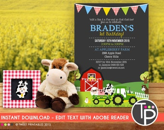 FARM ANIMAL Invitation, Instant Download Farm Animal Invitation,Farm Party Invitation, Farm Animal Party, Edit yourself with Adobe Reader
