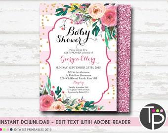 Girl BABY SHOWER Invitation, Instant Download, Pink Watercolor Floral Baby Shower Invitation, Baby Shower Girl Invitations, editable baby