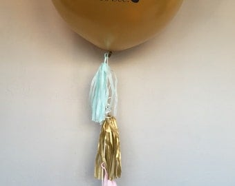 Gold Gender Reveal Balloon with Tassels