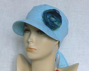 Linen cap, summer cap, women's cap,  blue linen cap